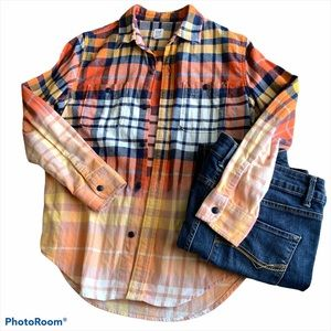 Gap Custom Bleach Tie Dye Flannel Shirt Kids XL